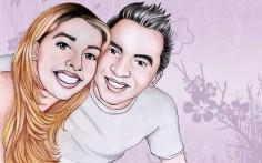 Foto-Karikatur des Brautpaares
